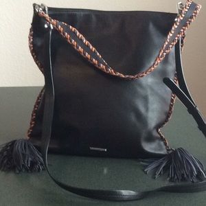 Rebecca Minkoff Hobo whipstitch and tassels Black